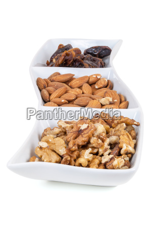 walnuts and almonds dates in a