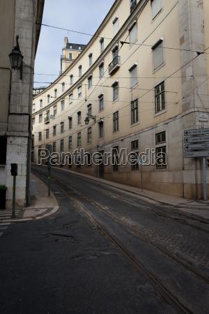 street with tramline in lisbon