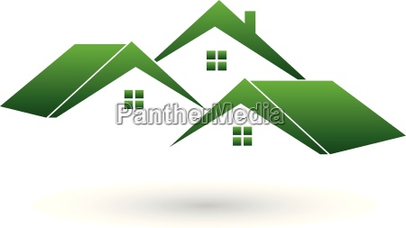 logo real estate three houses roof