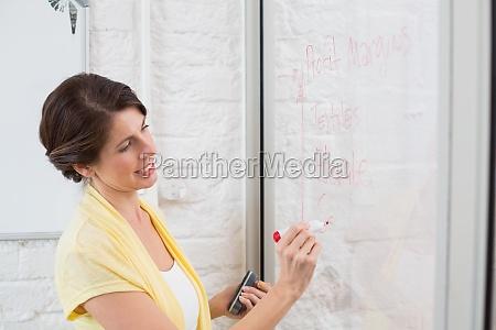 businesswoman writing brainstorming ideas on board