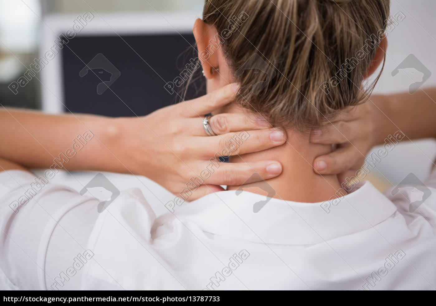 mid, section, of, businesswoman, suffering, from - 13787733