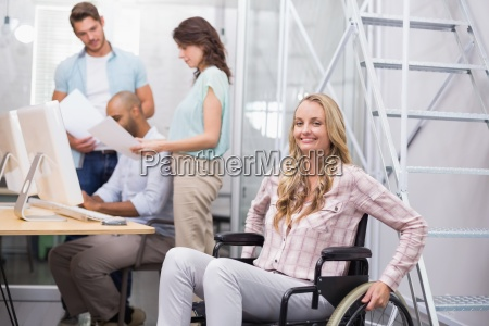 woman, in, wheelchair, smiling, at, camera - 13787283