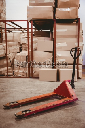 storage cart on floor in warehouse