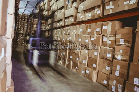 forklift, in, large, warehouse - 13788459