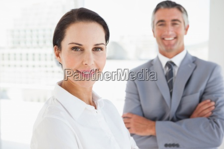 smiling business woman at work