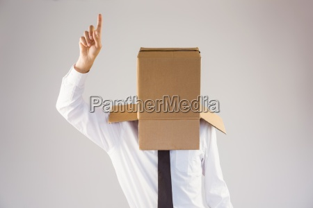 anonymous businessman with hand pointing up