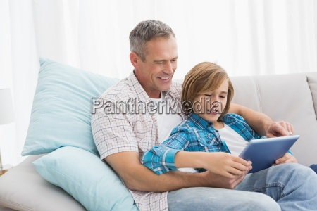 father with son relaxing on the