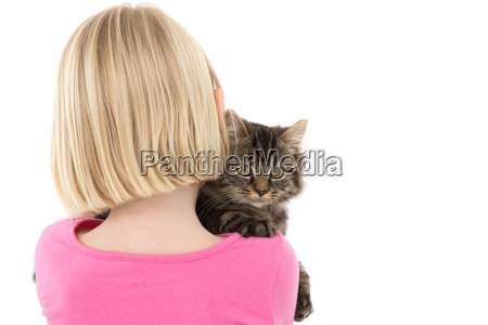 cute girl holding grey kitten