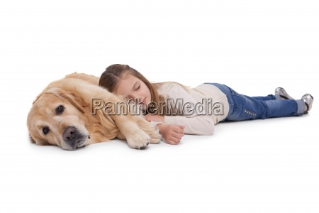 sleeping girl with her pet dog