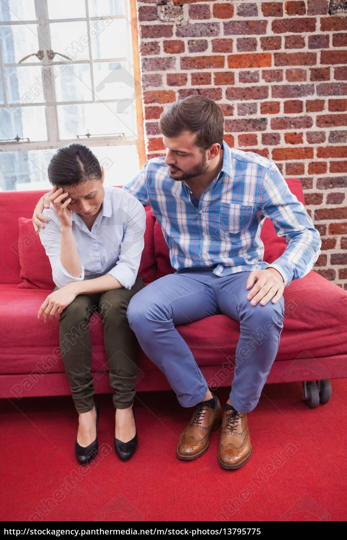 therapist, comforting, his, upset, patient - 13795775
