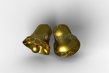 digitally generated golden christmas bells