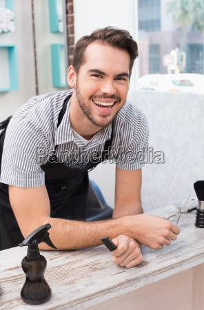 handsome, hair, stylist, smiling, at, camera - 13796987