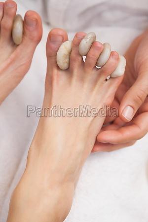 customer getting a foot massage
