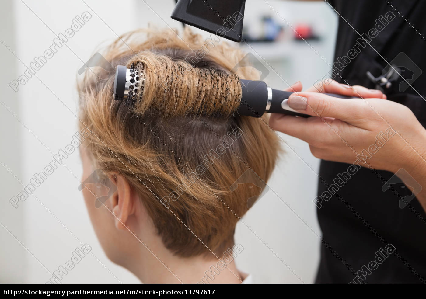 hairdresser, drying, a, customers, hair - 13797617