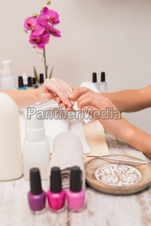 nail, technician, giving, customer, a, manicure - 13797297