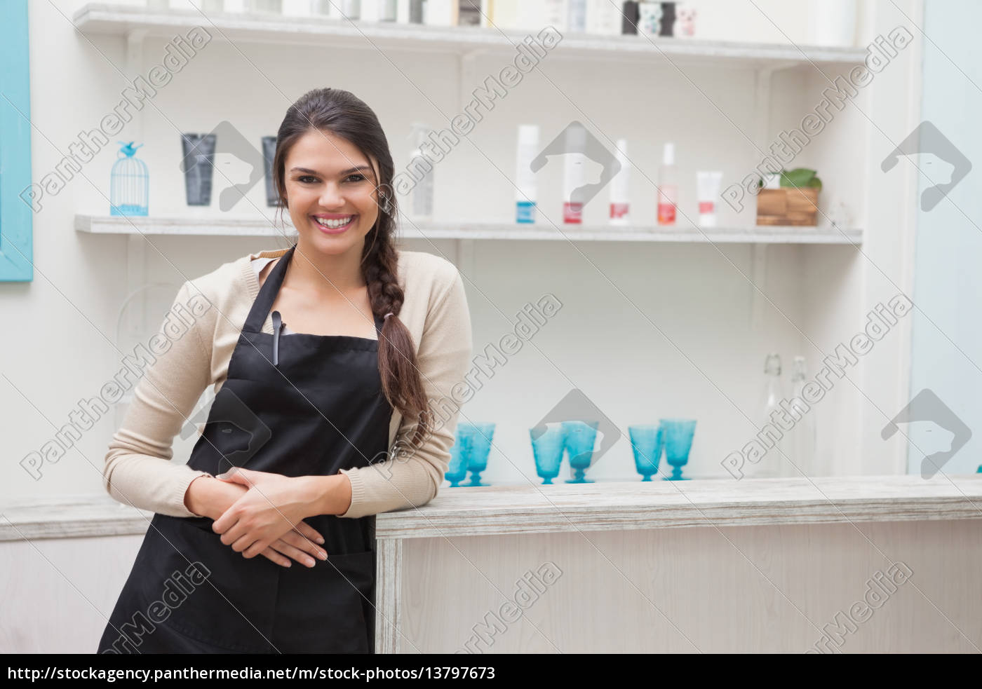 smiling, hairdresser, in, work, stock, room - 13797673