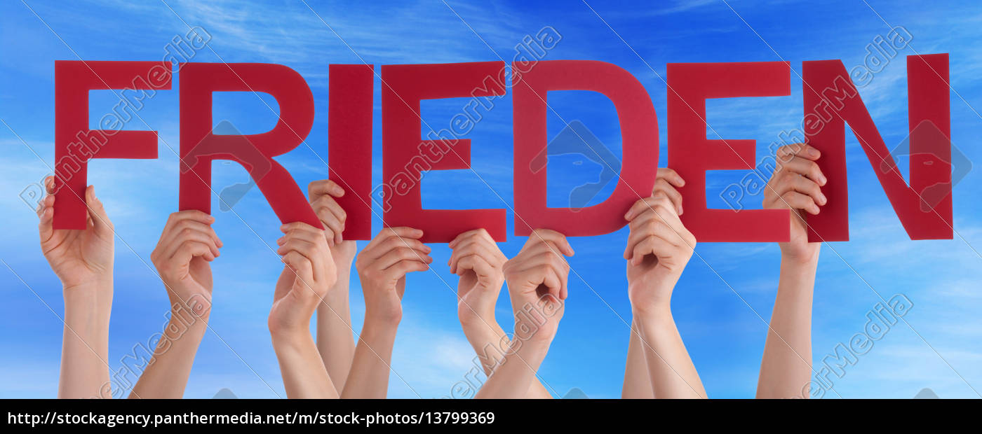 people, holding, straight, german, word, frieden - 13799369