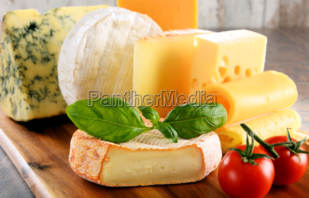 different sorts of cheese isolated on