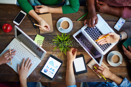 discussion with laptops