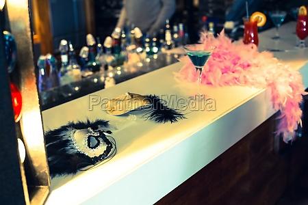masquerade masks and cocktails