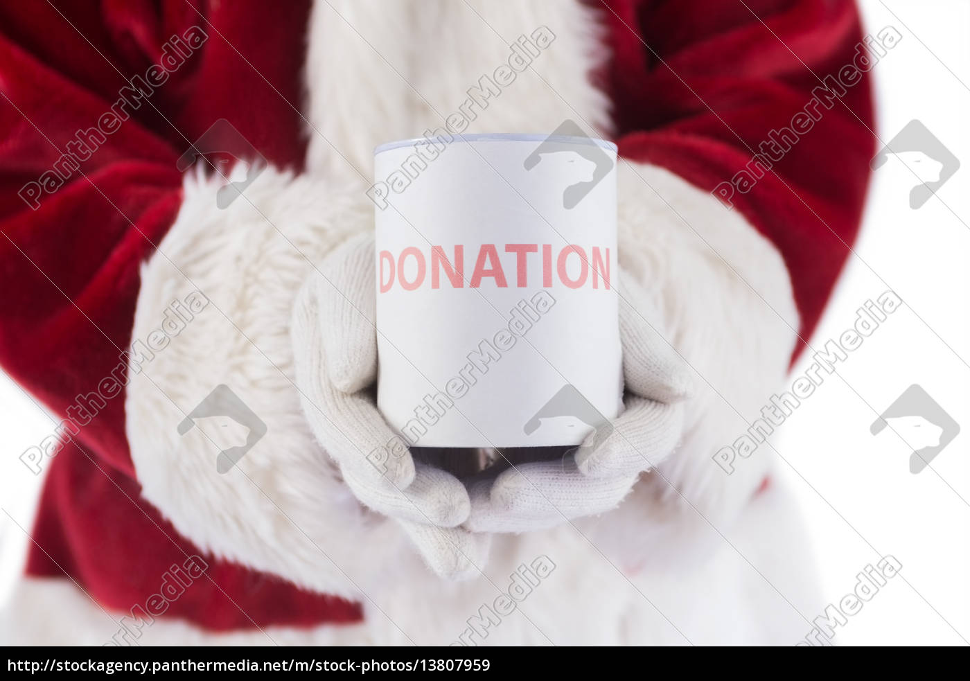 santa, holds, a, can, for, donations - 13807959
