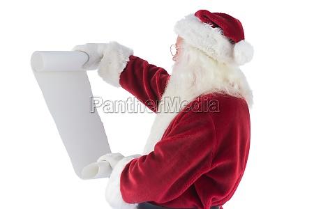 santa claus reads a list