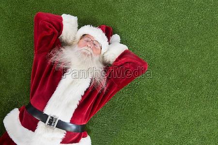 santa lies sleeps and has a