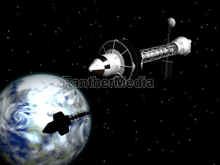 mars flight with spaceship