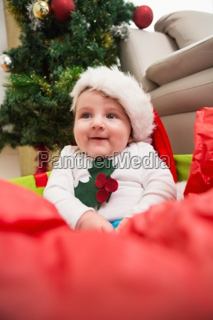 cute baby boy in large christmas