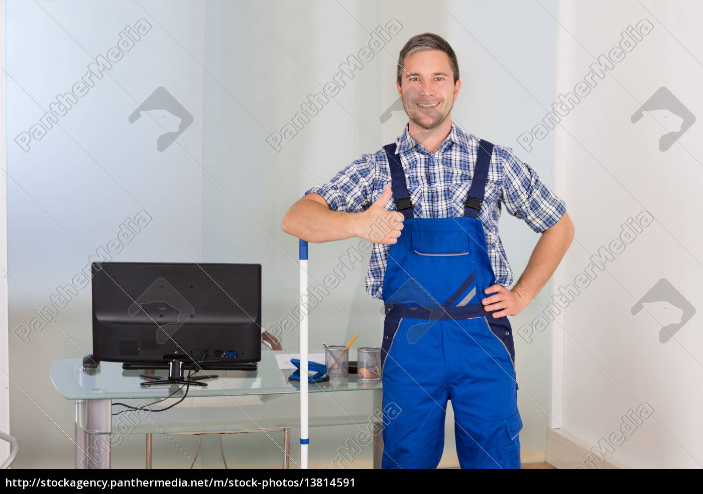 happy, male, janitor, gesturing, thumbs, up - 13814591