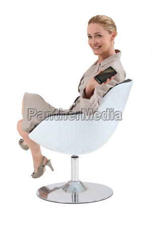 woman promoting a cell phone