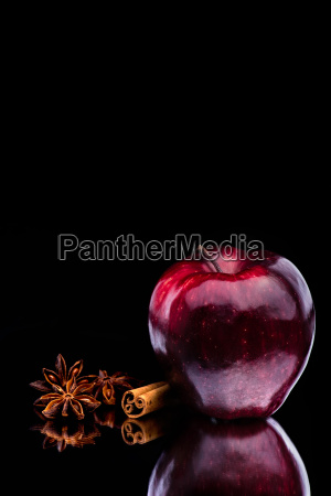 gloss red apple on dark background