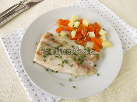 perch fillet with vegetables and watercress