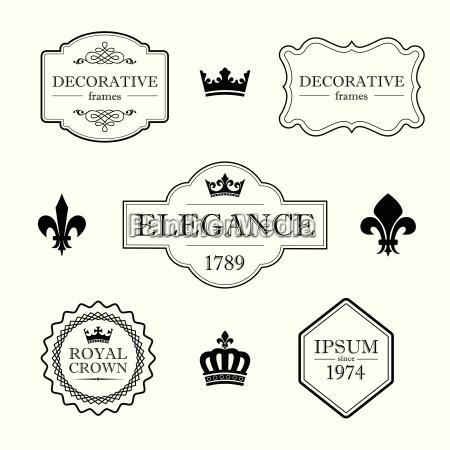 set of calligraphic flourish design elements