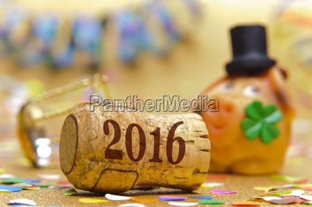 new year 2016 with champagne corks