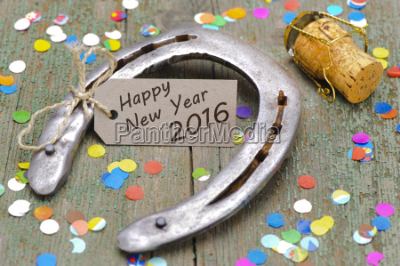 new year 2016 with horseshoes for