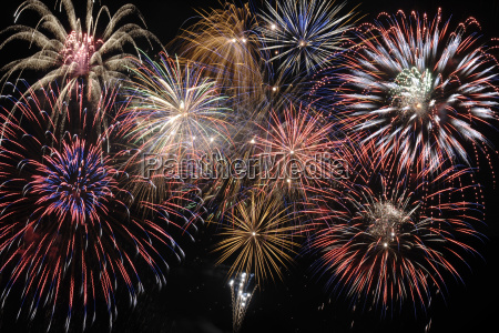 large brilliant fireworks in the sky