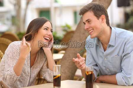 couple dating and flirting in a