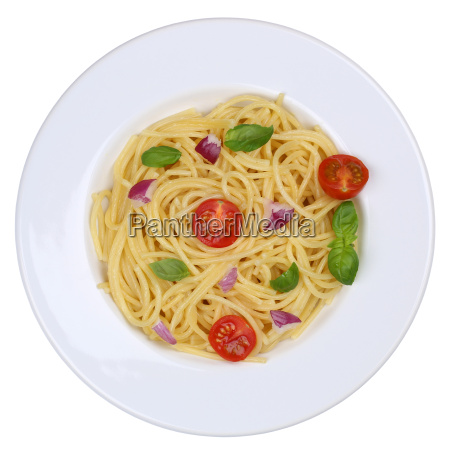 spaghetti nudeln pasta gericht mit tomaten