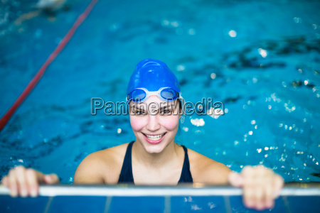 female swimmer in an indoor swimming
