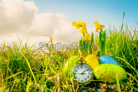 easter eggs and a clock