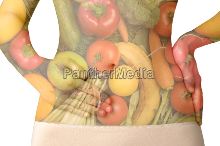 a womans abdomen with fruits and