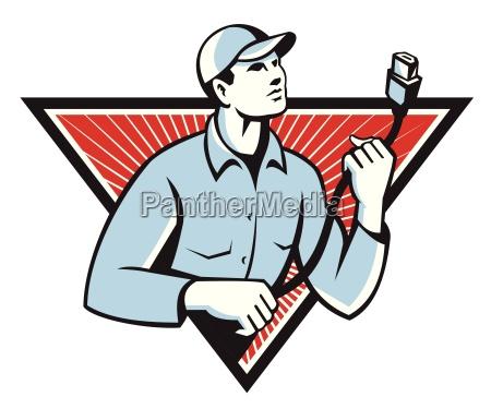 worker technician holding hdmi cable retro