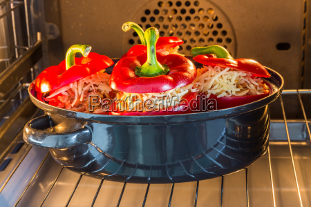 stuffed pepper topped with mince sauce