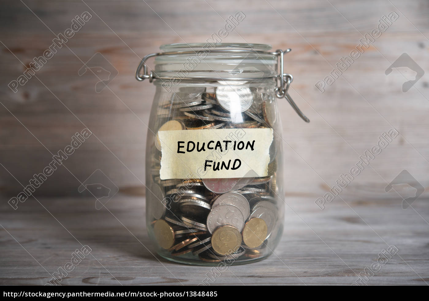 money, jar, with, education, fund, label. - 13848485