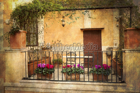 small terrace in rome italy
