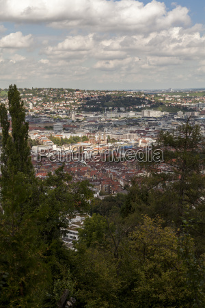 skyline of stuttgart with the view