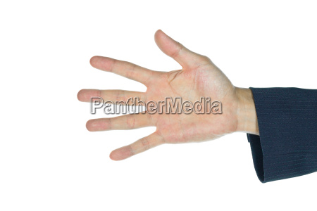 businessman five fingers isolated on white