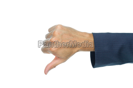 businessman thumb down finger isolated on