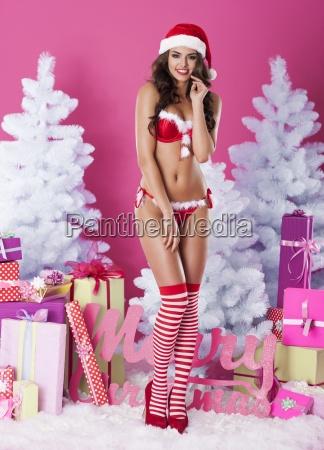 sexy female santa claus in underwear
